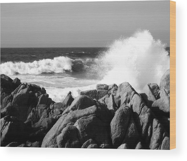 Wave Wood Print featuring the photograph Monterey Waves by Halle Treanor