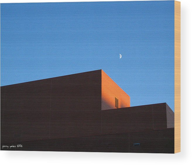 Buildiing Wood Print featuring the photograph Moon With Brick by Gerard Yates