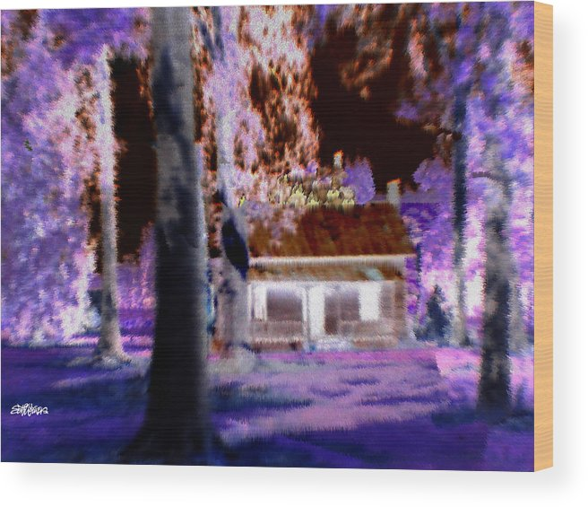 Cabin Wood Print featuring the digital art Moonlight Cabin by Seth Weaver