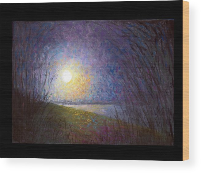 Landscape Wood Print featuring the painting Moonlight Lake by Susan Jenkins