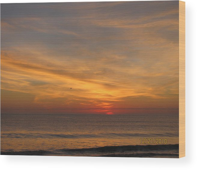 Beach The Morning After Eclipse ' So Lovely And Peaceful That Morning Wood Print featuring the photograph Morning After Eclipse by Tyrone Spann