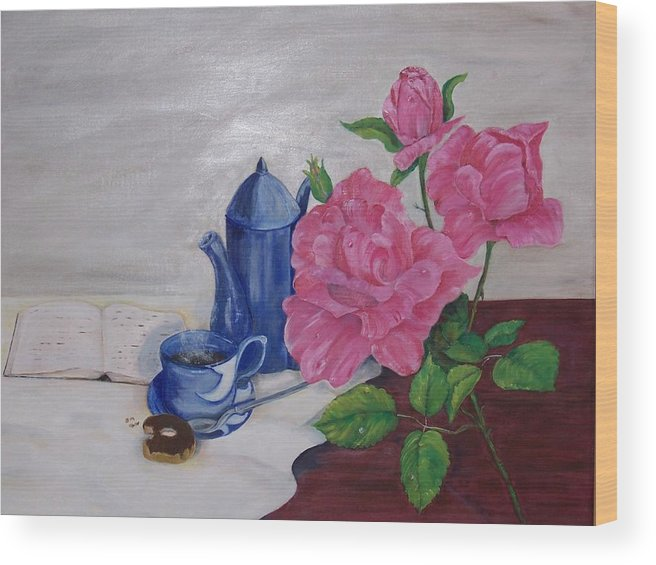 Still Life Wood Print featuring the painting Morning Coffee by Penny Everhart