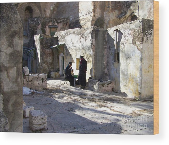 Jerusalem Wood Print featuring the photograph Morning Conversation by Kathy McClure