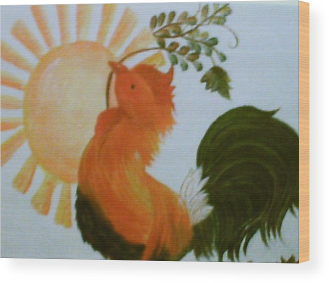 Rooster Wood Print featuring the painting Morning Greeting by Carolyn Sylvester