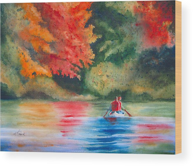 Lake Wood Print featuring the painting Morning On The Lake by Karen Stark