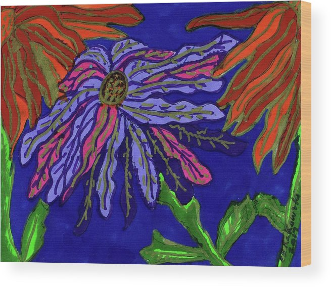 Blue And Pink Poinsettia Next To Two Red Orange Ones Wood Print featuring the mixed media Most Unusual Poinsettia In A Midnight Blue Sky by Elinor Helen Rakowski