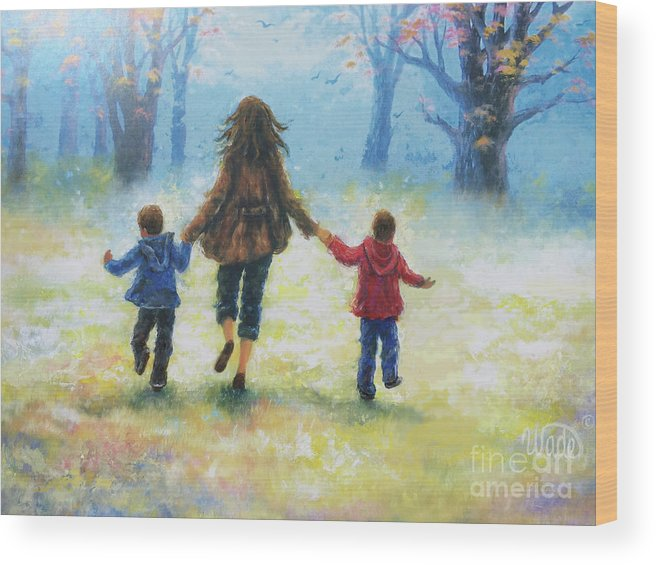 Two Boys Wood Print featuring the painting Mother And Two Sons Out For A Walk by Vickie Wade