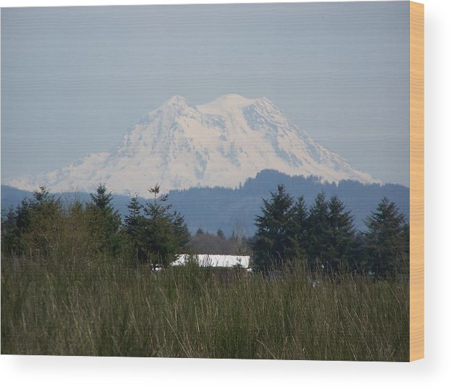 Digital Photography Wood Print featuring the photograph Mount Rainier Again by Laurie Kidd