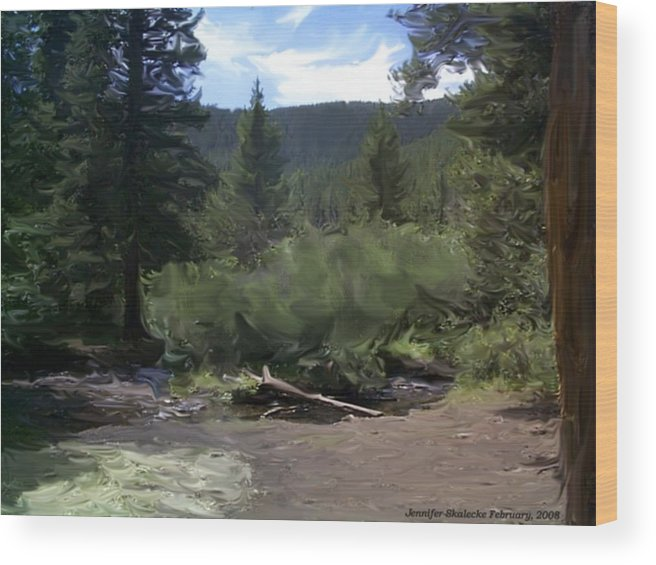 Mountain Stream Wood Print featuring the digital art Mountain Stream by Jennifer Skalecke