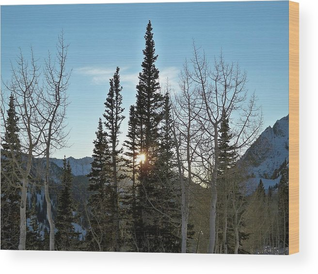 Rural Wood Print featuring the photograph Mountain Sunset by Michael Cuozzo
