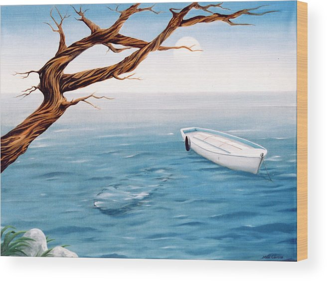 Seascape Prints Wood Print featuring the painting Mourning Spring by Mark Cawood