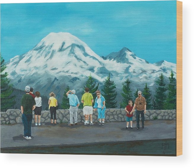 Landscape Wood Print featuring the painting Mt. Rainier Tourists by Gene Ritchhart
