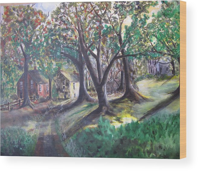 Abstract Wood Print featuring the painting My Old Southern Plantation Home by Gary Smith