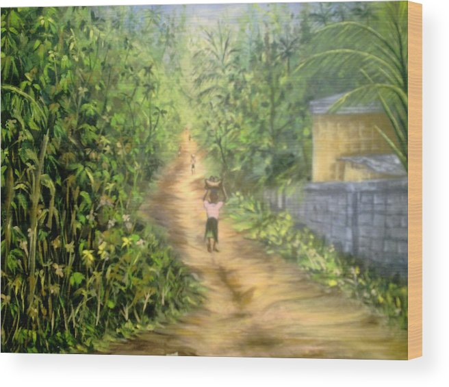 Culture Wood Print featuring the painting My Village by Olaoluwa Smith