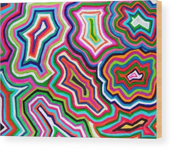 Abstract Wood Print featuring the drawing Nanas Quilt by Katina Cote
