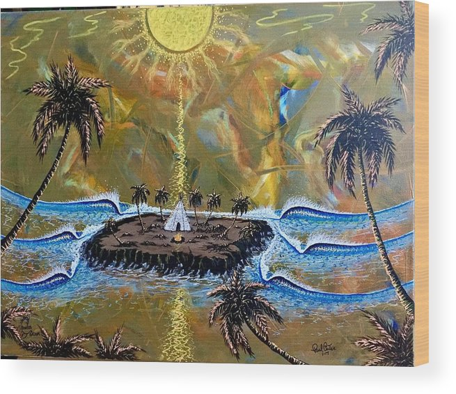 Native Wood Print featuring the painting Native Sunset Dream by Paul Carter