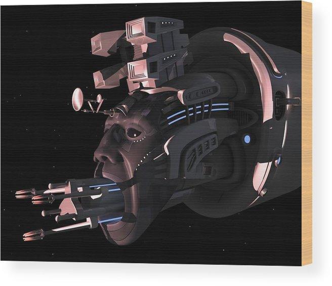 Surreal Wood Print featuring the digital art Navis Coelus by Mariusz Loszakiewicz