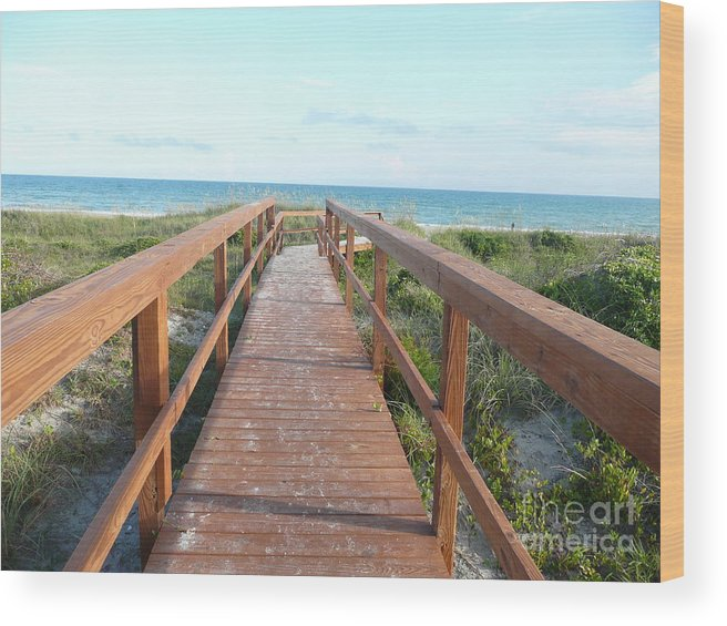 Boardwalk Wood Print featuring the photograph Nc Beach Boardwalk by Barb Montanye Meseroll