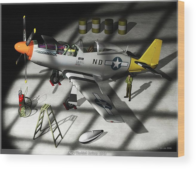 Jim Coe Wood Print featuring the digital art New Bird Arrives by Jim Coe