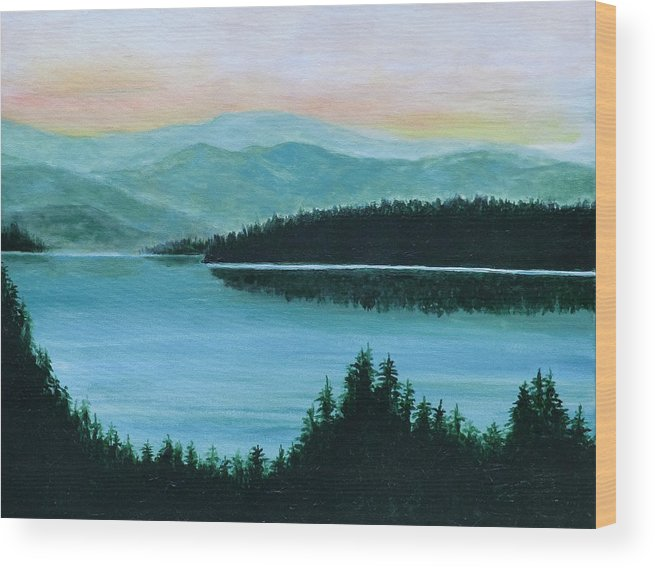 New Hampshire Wood Print featuring the painting New Hampshire by Brad Thomas