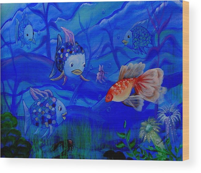 Fish Wood Print featuring the painting New Kid In Town by Quwatha Valentine