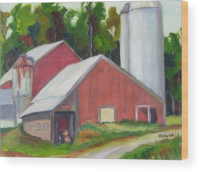 Farm Wood Print featuring the painting New York State Farm With Silos by Richard Nowak