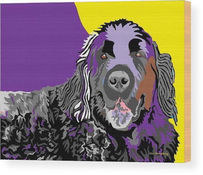 Newfie Wood Print featuring the digital art Newfie Bear by Su Humphrey
