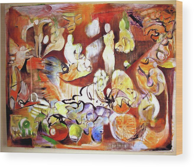 Abstract Wood Print featuring the painting Night In Nablus by Robert Gravelin