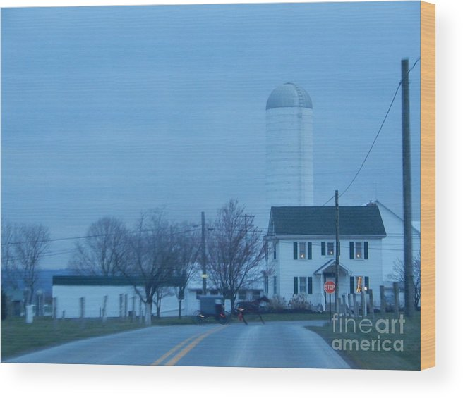 Amish Wood Print featuring the photograph Nightfall by Christine Clark