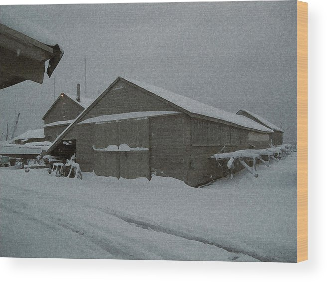 Snow Wood Print featuring the mixed media Nor'easter by Paul Barlo