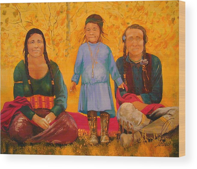 People Wood Print featuring the painting North American Native Family by Nicole Shaw