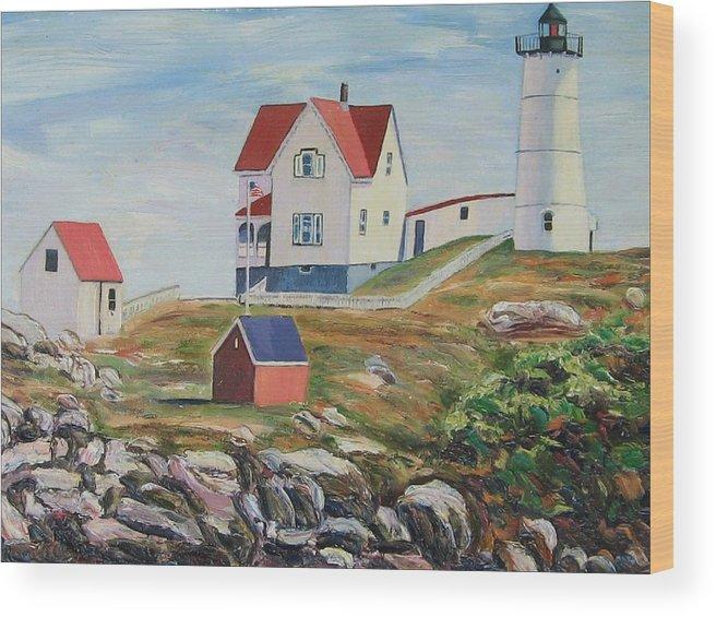 Nubble Light House Wood Print featuring the painting Nubble Light House Maine by Richard Nowak