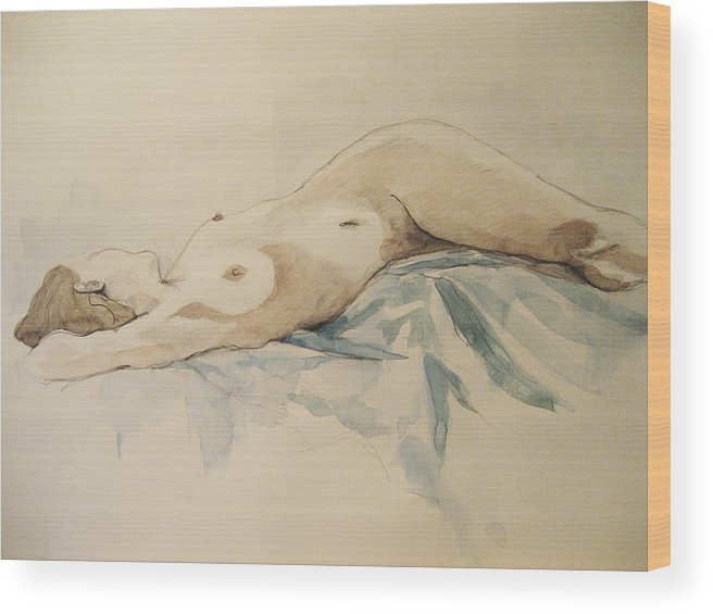 Nude Wood Print featuring the painting Nude 9 by Victoria Heryet