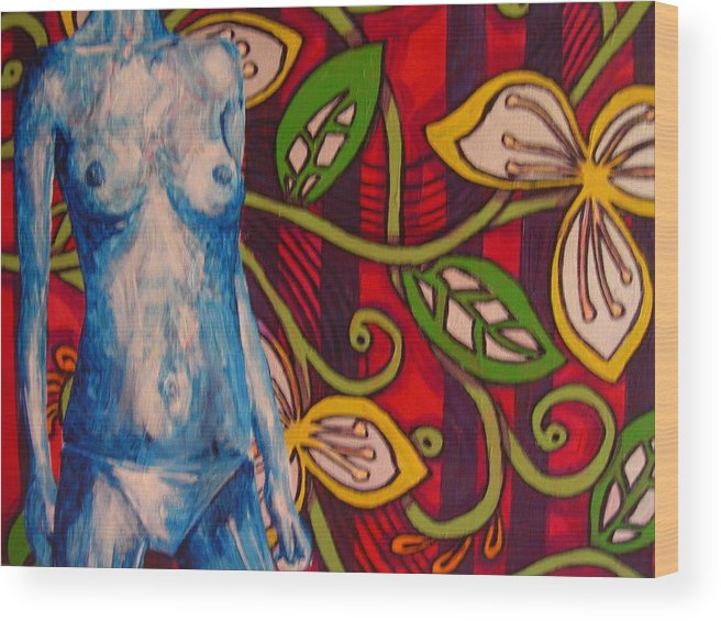 Nude Wood Print featuring the painting Nude Flower by Lynne