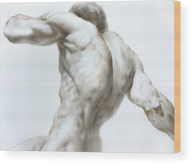 Man Wood Print featuring the painting Nude1c by Valeriy Mavlo