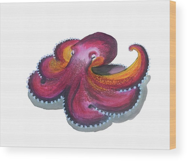 Octopus Wood Print featuring the mixed media Octopus Dance by Lee Gelwicks