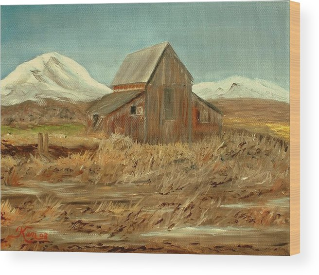 Landscape Barn Mountain Painting View Wood Print featuring the painting Old Barn And Mountain View by Kenneth LePoidevin