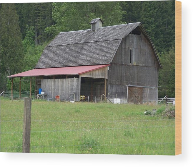 Barn Wood Print featuring the photograph Old Barn With Red Leanto Washington State by Laurie Kidd