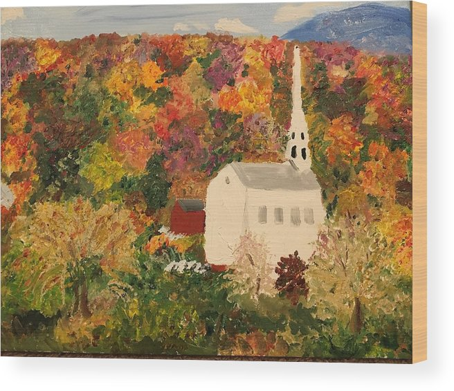Vermont Wood Print featuring the painting Old Colony Glory by Lisa Cannon