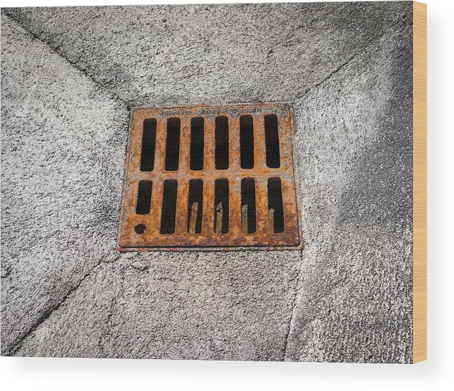 Background Wood Print featuring the photograph Old Rusty Street Grate Near The Sea In Cres by Stefan Rotter