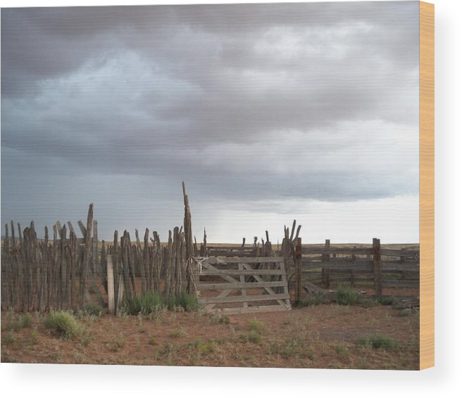 Nature Wood Print featuring the photograph Old Stock Corral On The Rez Az. by Ernie Scott- Dust Rising Studios