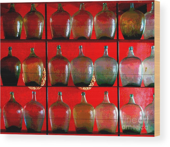 Darian Day Wood Print featuring the photograph Old Tequila Jugs By Darian Day by Mexicolors Art Photography
