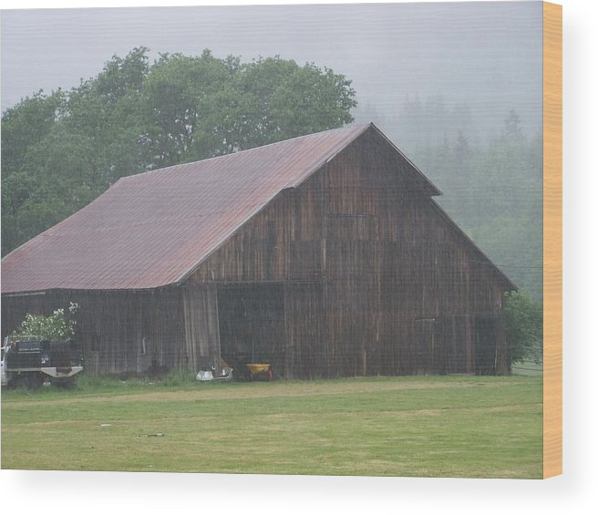 Barn Photography Wood Print featuring the photograph Old Wood Barn In The Mist Washington State by Laurie Kidd