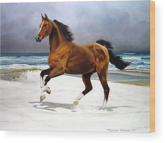 Horse Wood Print featuring the painting On The Beach by Marc Stewart