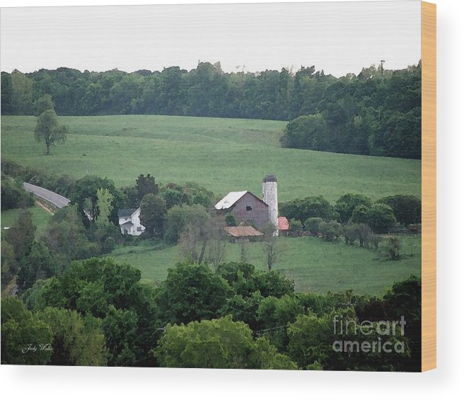 Hills Wood Print featuring the photograph On The Farm by Judy Waller