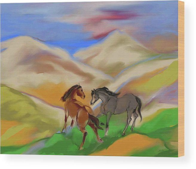 Horses Wood Print featuring the mixed media On The Mountian by Mary Armstrong