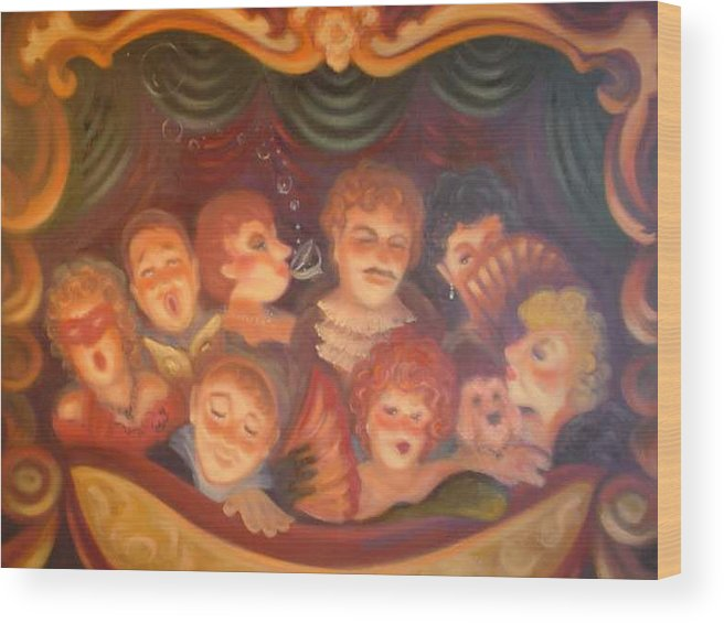 Opera Balcony Scene Wood Print featuring the painting Opera Delight by Scott Jones