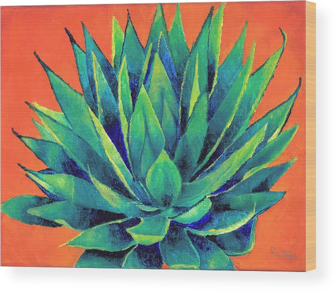 Agave Wood Print featuring the painting Orange And Agave by Dawnstarstudios