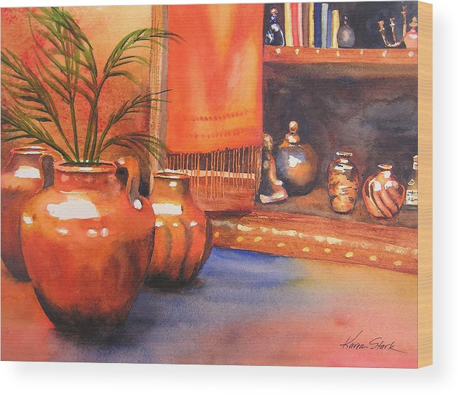 Pottery Wood Print featuring the painting Orange Scarf by Karen Stark