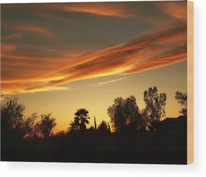 Sunset Wood Print featuring the photograph Orange Sky by Kathleen Heese